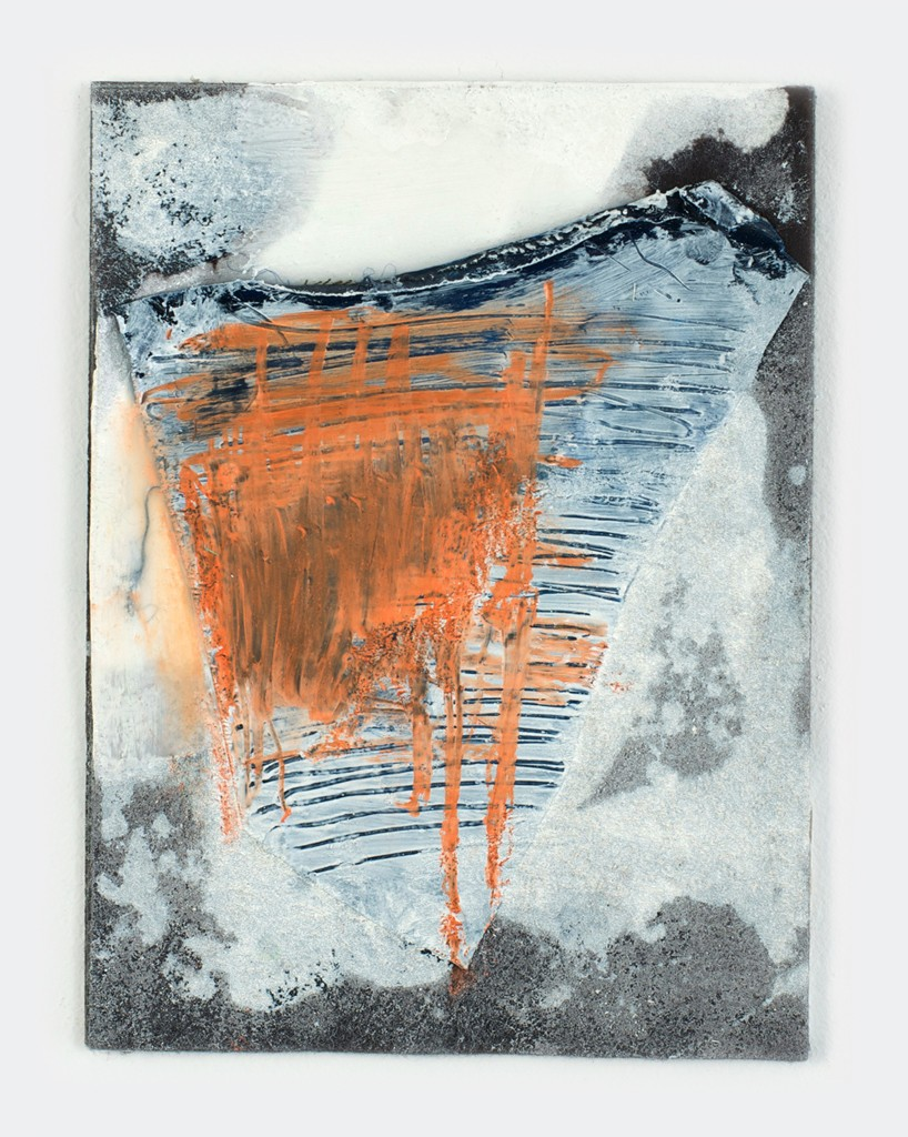 """Orange Lines"", 2014, fabric, felt mounted on wood panel."