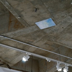 "Installation view, ""Powder Blue Felt"" mounted on ceiling, Mount St. Mary's College, Jose Drudis-Biada Gallery, CA, 2012"